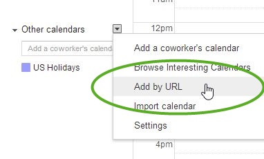 Gmail iCal integration